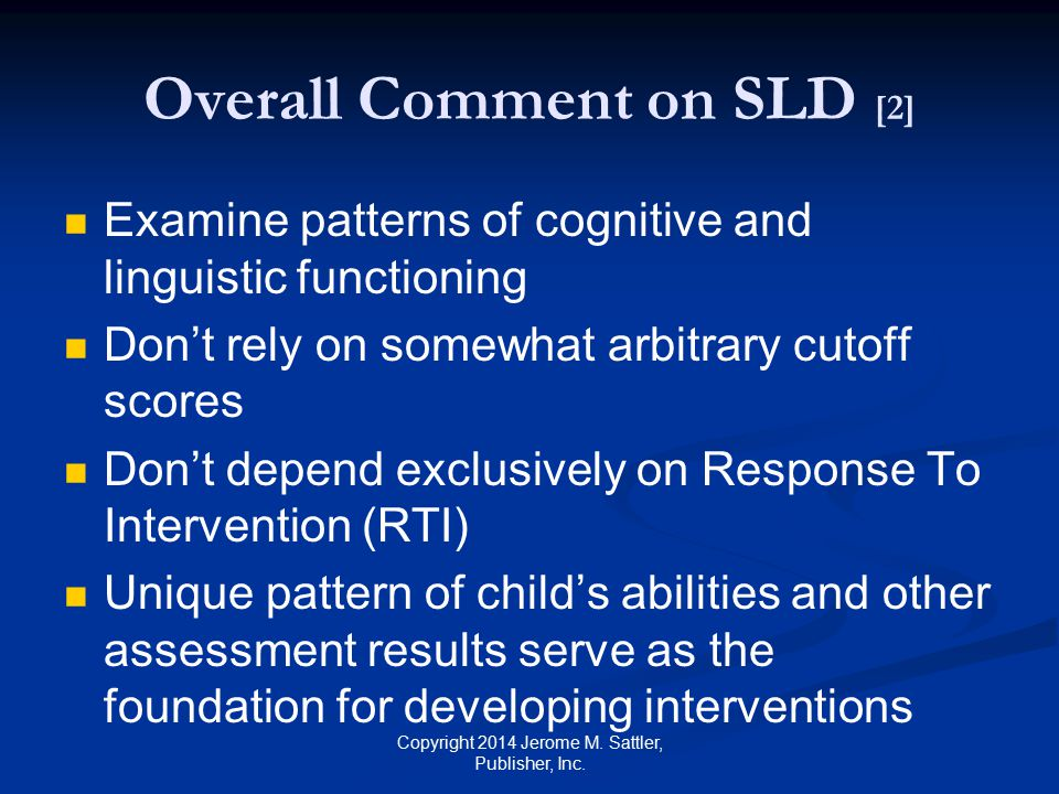 Overall Comment on SLD [2]